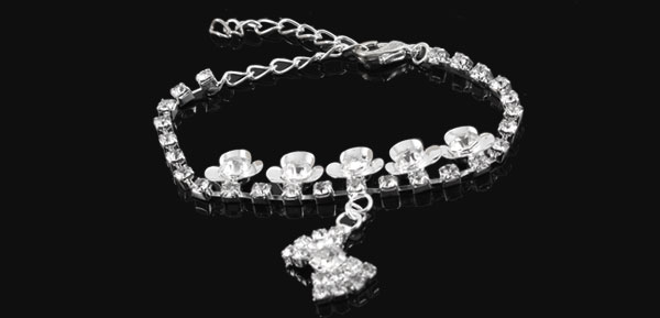 Lady Silver Tone Rhinestone Decor Bowtie Pendant Bracelet Bangle Chain Jewerly