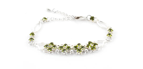 Lady Olive Green Rhinestone Decor Adjustable Bracelet Bangle Chain Jewerly