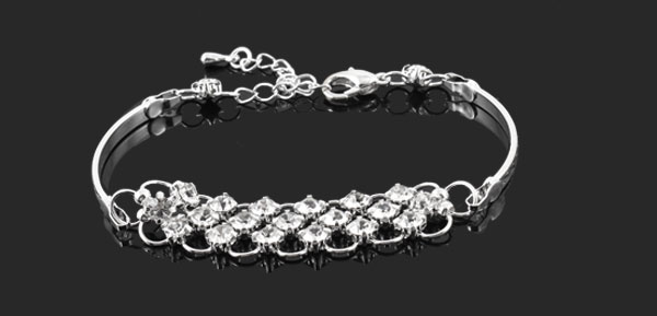 Ladies Lobster Closure Rhinestone Detail Bracelet Chain Silver Tone