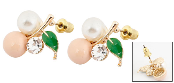 2pcs White Faux Pearl Pink Cherry Shaped Ornament Stud Earrings Gold Tone