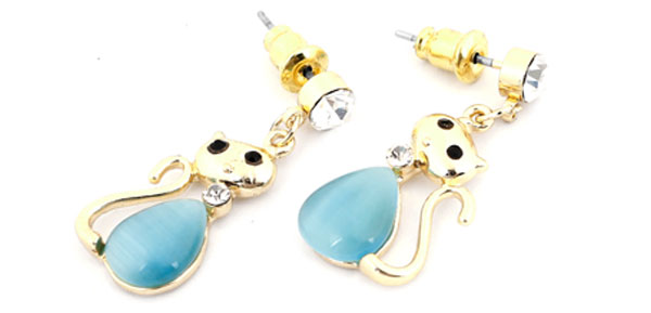 2pcs Blue Shaped Ornament Stud Earrings Gold Tone for Women