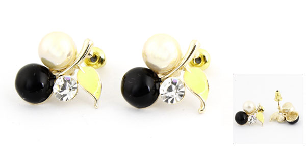 2pcs White Beads Decor Cherry Shaped Ornament Stud Earrings Gold Tone