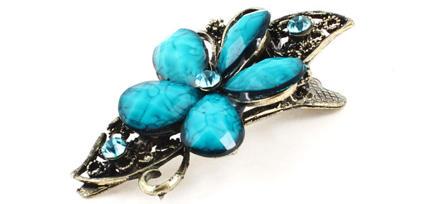 Lady Teal Blue Plastic Beaded Bronze Tone Metal Single Prong Hair Clip Hairclip