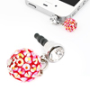 Red Crystals Ball Shaped 3.5mm Anti Dust Ear Cap Plug Stopper for Smartphone