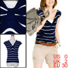 Women Navy Blue V Neck Sleeveless Design Stripes P...