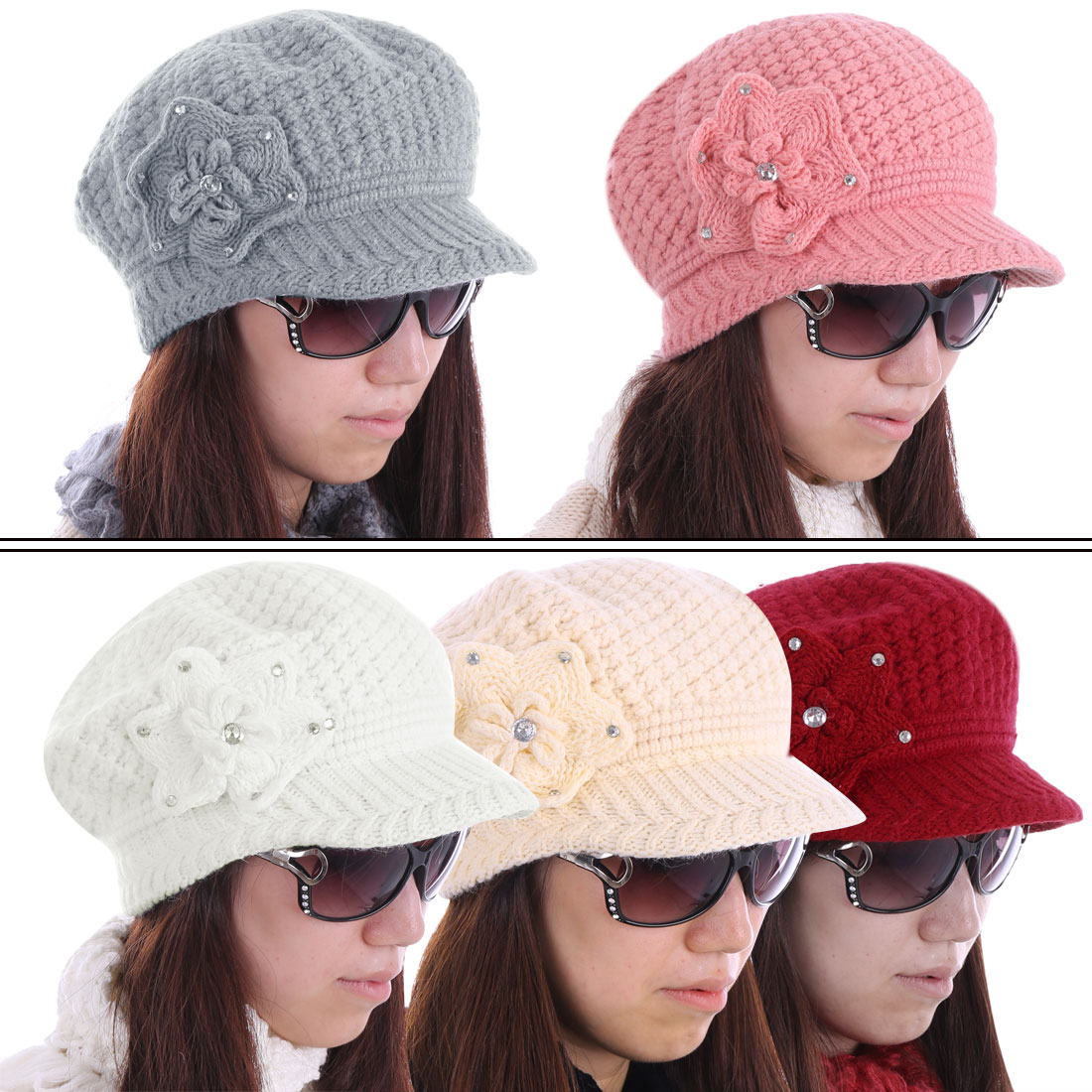 YM-14# Women Flower Pattern Rhinestone Embellished Brim Hat