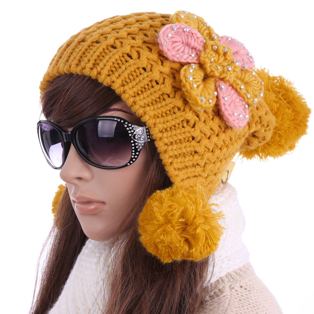 YM-18 Woman NEW Studded Flower Embellished Winter...