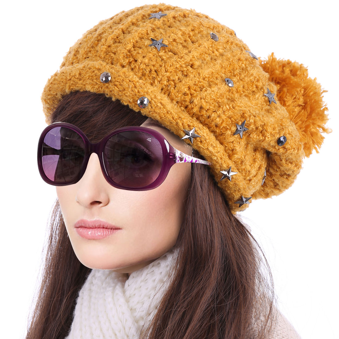 YM-20# Women's Pom Pom Stars Decor Warm Knitted Beanie Hat