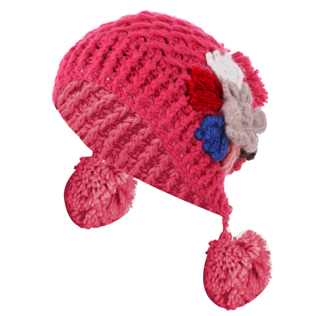 YM-23 Woman Chic Colorful Crochet Flower Decor 3 Pom-Pom...