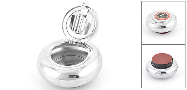 Silver Tone Round Shaped Car Adhesive Base Smoking Cigarette Ashtray Holder