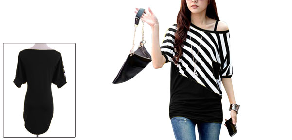 Black L Color Block Stripes Pattern Style Pullover Casual Women Top Shirt
