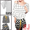 Women Batwing Sleeve Tops & Drawstring Waist Plaids Shorts White Black XS