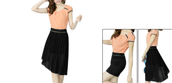 Woman Pink Black Color Blocking Splice Low-High Hem Convertible Dress XS