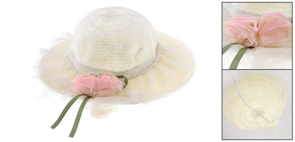 Detachable Pink Dual Flower Decor Elastic String Band Sun Hat Beige for Ladies