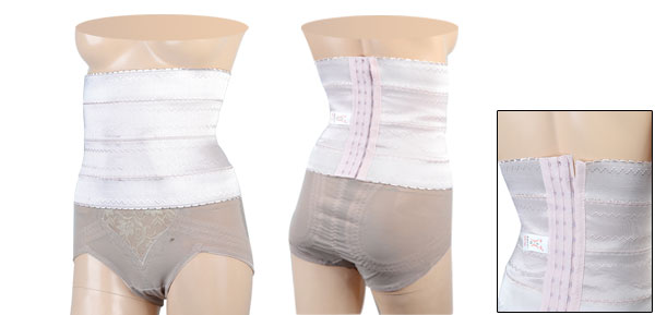 Light Pink Zigzag Pattern Elastic Shapewear Tummy Trimmer Corset Waist Cincher M