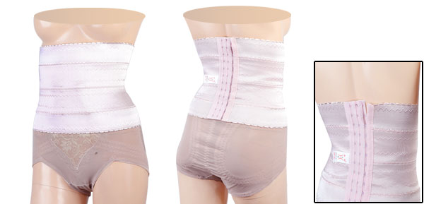 Light Pink Hook Eye Closure Zigzag Print Stretchy Shapewear Slimmer Waist Cincher S