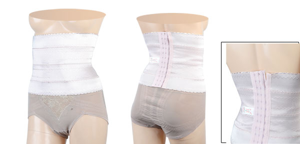Light Pink Zigzag Print Adjustable Shapewear Slimming Girdle Waist Cincher S