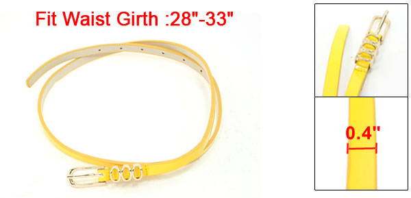 Women Gold Tone Single Pin Buckle Adjustable Waist Belt Yellow