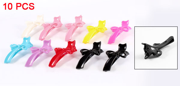 Plastic Butterfly Knot Alligator Hair Clip Hairclips Pink White Yellow 10PCS