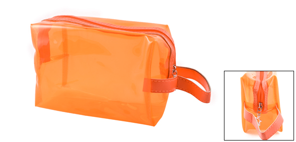 Woman Travel Plastic Foldable Makeup Cosmetic Holder Bag Orange