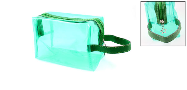Lady Zipped Up Closure Green Plastic Cosmetic Hand Bag Case