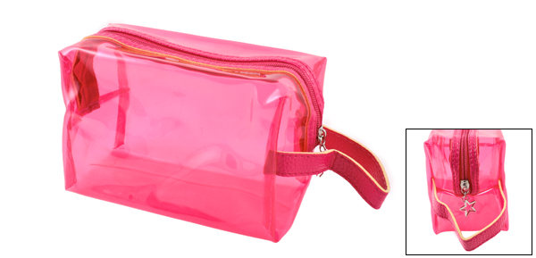 Woman Travel Plastic Foldable Makeup Cosmetic Holder Bag Fuchsia
