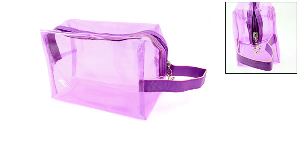 Ladies Purple Rectangle Cosmetic Case Bag w Faux Leather Strap