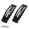 2 Pairs Black Metal Bow Prong Barrettes Waves Design Hairclips for Lady