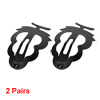 Women Black Metal Pine Shape Bendy Snap Hair Clips Hairpins 2 Pairs