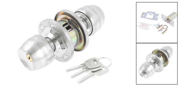 Home House Ball Shape Grip Lockset Lockable Door Knob Lock w 3 Keys