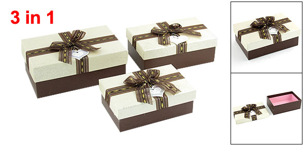 3 in 1 Bowknot Decor Rectangle Jewelry Bracelet Gift Box Case Off White Brown