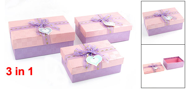 3 in 1 Bowknot Decor Rectangle Jewelry Bracelet Gift Box Case Set Pink Purple