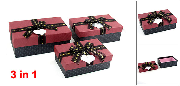 3 in 1 Bowknot Decor Rectangle Jewelry Bracelet Gift Box Case Set Burgundy Gray