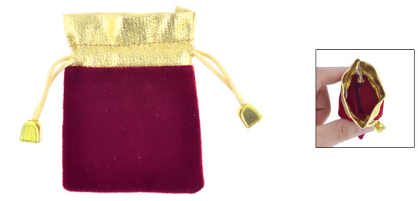 Gold Tone Dark Red Flannel Jewelry Birthday Gift Bags