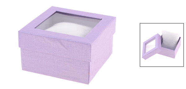 Light Purple Rectangle Shape Cardboard Watch Box Casket Case Containner