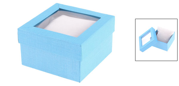 Sky Blue Rectangle Shape Cardboard Watch Box Casket Case Containner