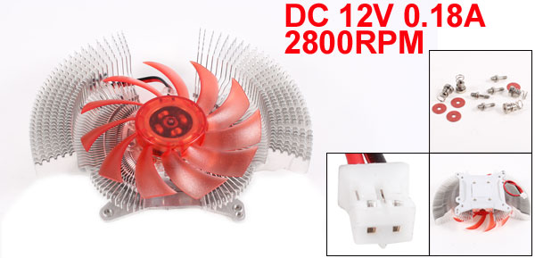 DC 12V 0.18A 2800RPM 17dB 2 Pin PC VGA Heatsink Cooler Cooling Fan