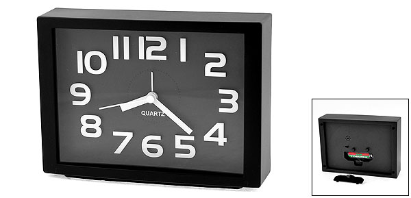 White Arabic Number Marking Square Dial Black Plastic Alarm Clock