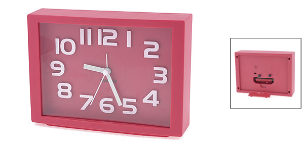 White Arabic Number Marking Square Dial Red Plastic Alarm Clock