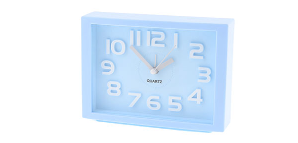 White Arabic Number Marking Square Dial Baby Blue Plastic Alarm Clock