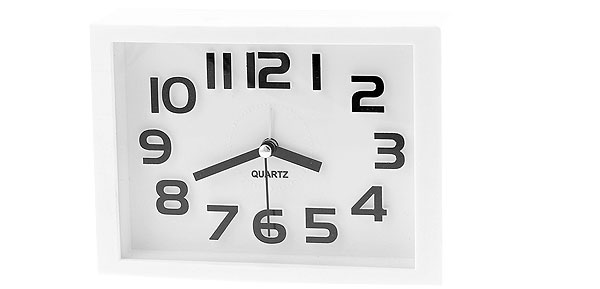 Plastic White Rectangle Dial Arabic Number Display Desk Alarm Clock