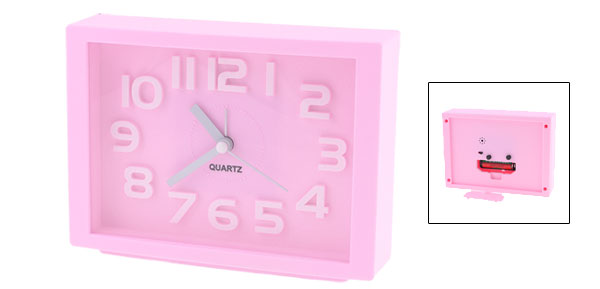 White Arabic Number Marking Square Dial Pink Plastic Alarm Clock
