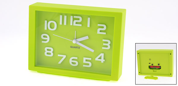 Plastic Green Rectangle Dial Arabic Number Display Desk Alarm Clock
