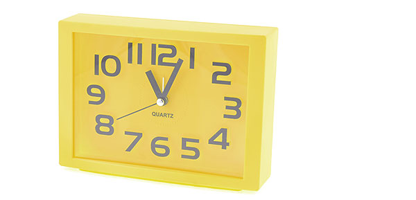 Plastic Yellow Rectangle Dial Arabic Number Display Desk Alarm Clock