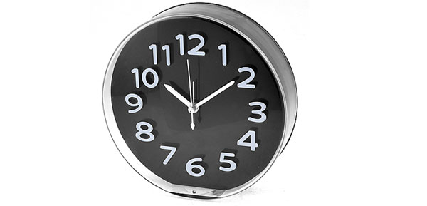 Hanging Hole Back White Dial Number Display Black Desk Wall Alarm Clock