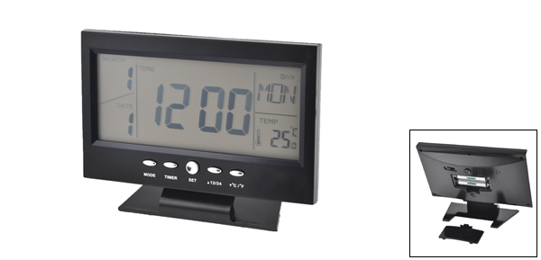 Black Mini Television Design LCD Display Digital Date Thermometer Alarm Clock