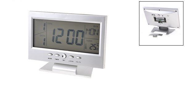 Silver Tone Mini Television Design LCD Display Digital Date Thermometer Alarm Clock