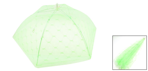 White Lace Hem Green Nylon Mesh Collapsible Food Cover Umbrella