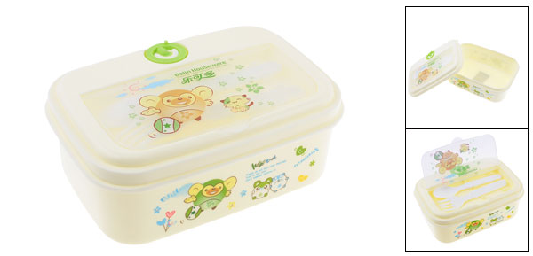 Camping Travel Cartoon Animals Print Retangle Shape Off White Plastic Lunch Box