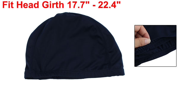 Adults Sport Swimming Polyester Stretchy Swimming Cap Navy Blue